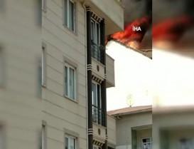 Başakşehir'de bir binanın çatı katında korkutan yangın