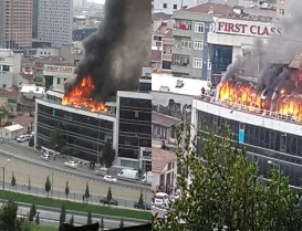 İkitelli'de iş merkezinde büyük yangın