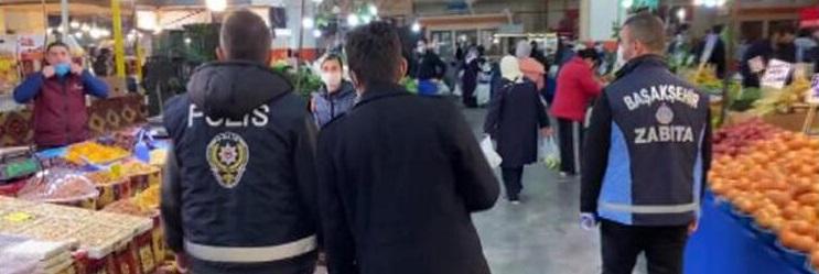 Başakşehir'de kapalı pazar yerinde denetim: 3 kişiye para cezası kesildi